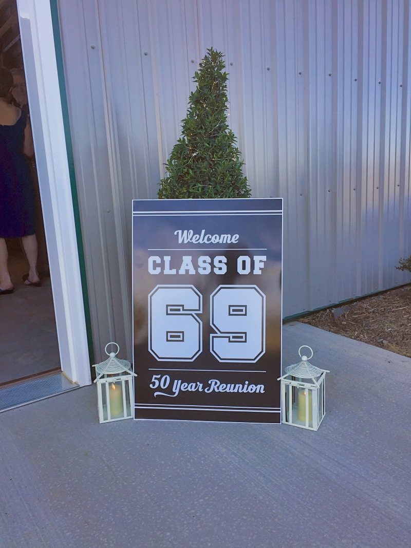 a class reunion party sign